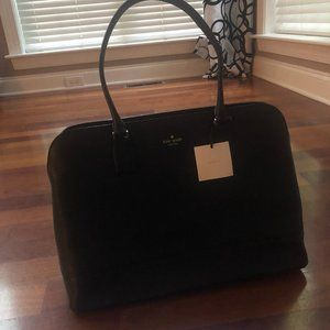 Kate Spade Black Leather Tote with Floral Inside